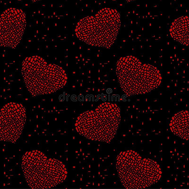 O moderno brilhante riscou corações vermelhos quebrados em um fundo preto ilustração do vetor