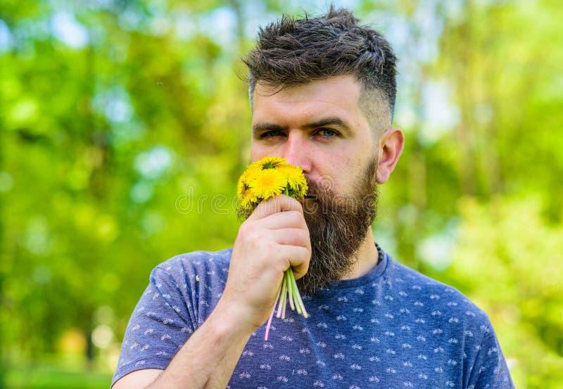 O moderno romântico fez o ramalhete, fundo verde da natureza, defocused Conceito do aroma Homem com barba e bigode na calma fotografia de stock
