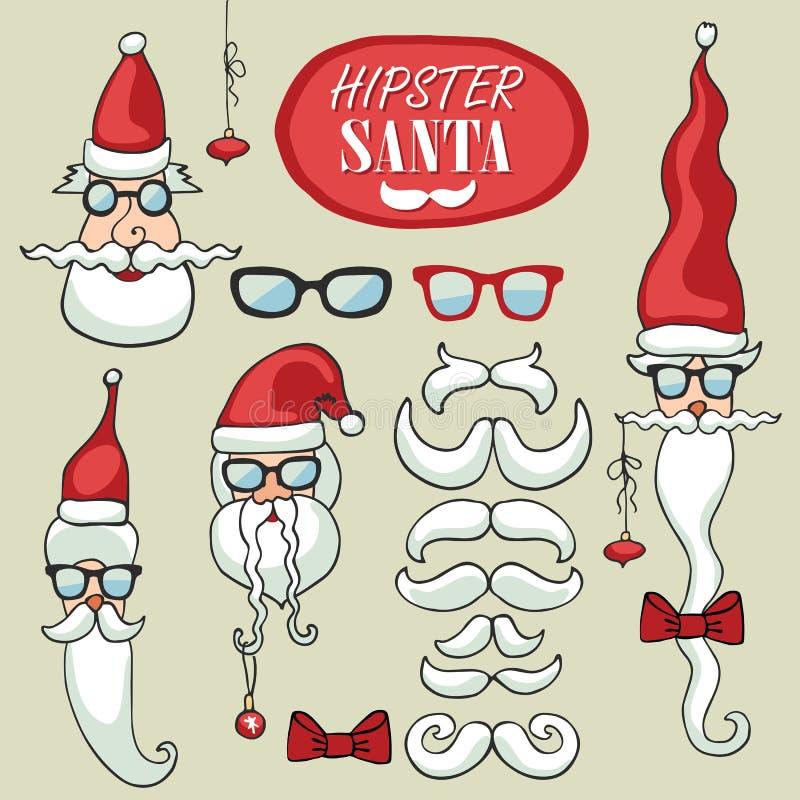 O moderno Santa Claus enfrenta o grupo Doodle engraçado ilustração stock