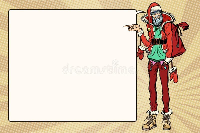 O moderno Santa Claus especifica lateralmente, a bolha da banda desenhada ilustração royalty free