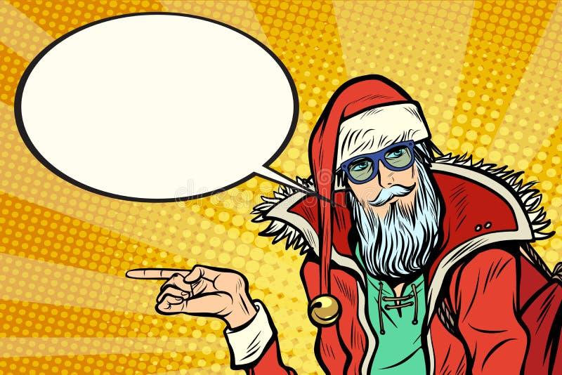 O moderno Santa Claus mostra lateralmente e diz a nuvem cômica ilustração stock
