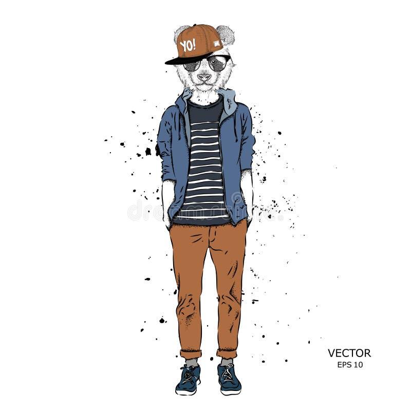 O moderno vestiu a panda acima no revestimento, nas calças e na camiseta A cidade velha de Praga Ilustração do vetor, ilustração stock