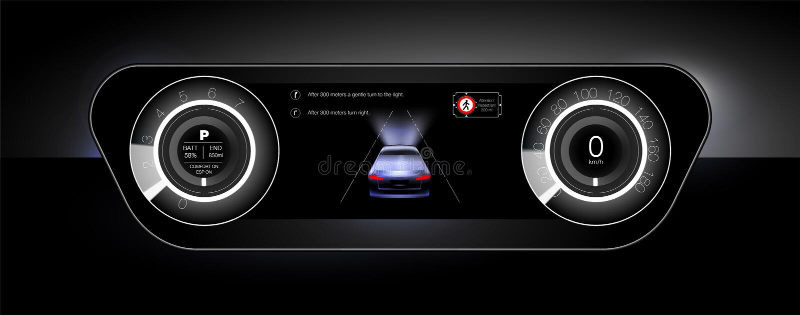 O modo de uma visão noturna na perspectiva dos faróis do automóvel ilustração royalty free