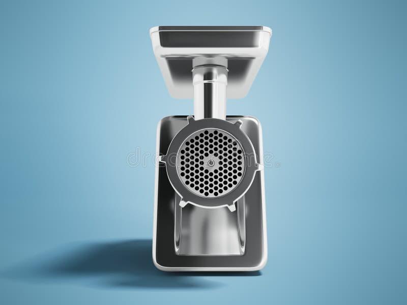 O moedor bonde do metal moderno com a embalagem preta em 3d dianteiro rende no fundo azul com sombra ilustração stock