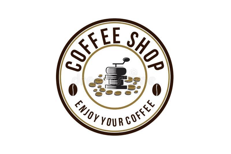 o moedor do vintage e a pilha do logotipo do feijão de café projetam a inspiração isolados no fundo branco ilustração stock