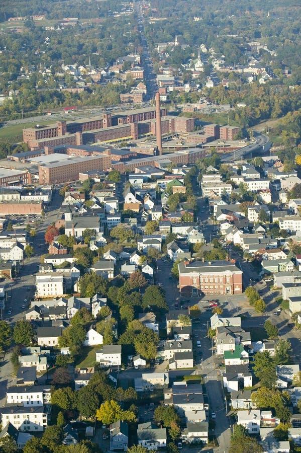 O moinho de matéria têxtil ocidental do ponto-Pepperell em Biddeford, Maine imagem de stock