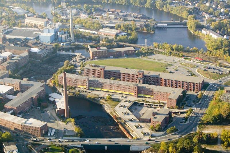 O moinho de matéria têxtil ocidental do ponto-Pepperell em Biddeford, Maine imagens de stock royalty free