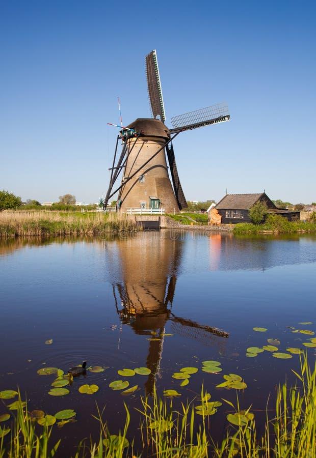 O moinho de vento holandês tradicional refletiu-me na água do canal imagem de stock