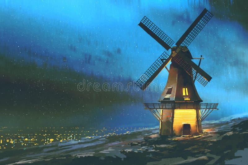 O moinho de vento na montanha no inverno ilustração do vetor
