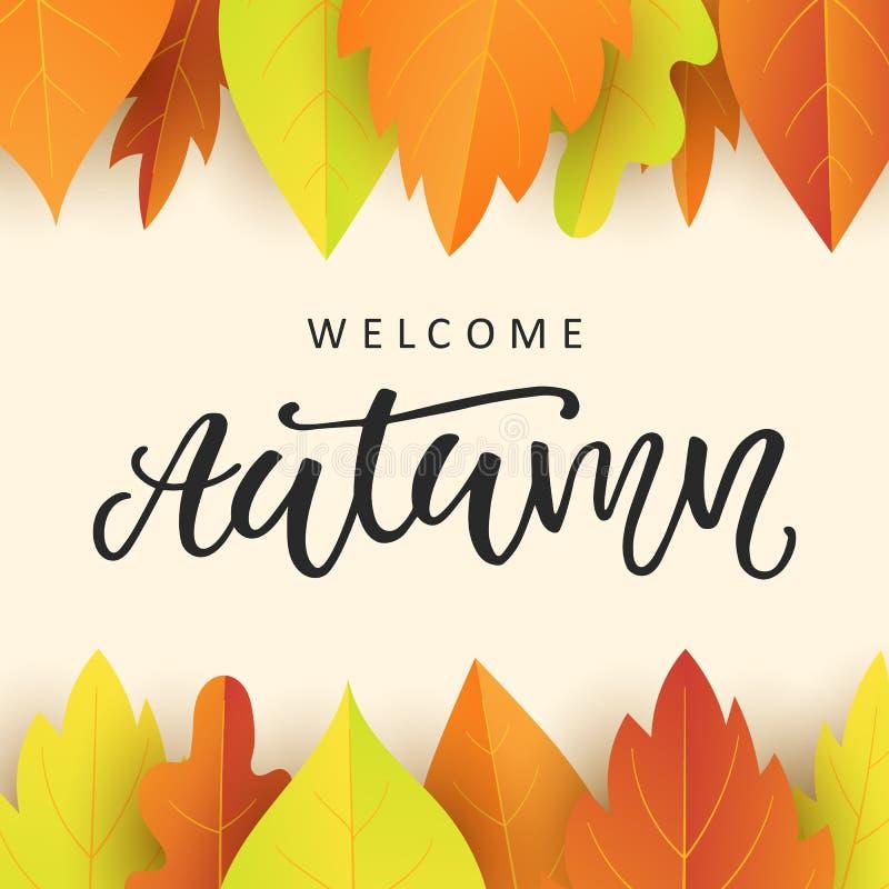O molde bem-vindo da bandeira do outono com queda colorida brilhante sae ilustração do vetor