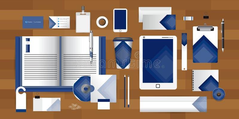 O molde branco da identidade com elementos do origâmi do triângulo da fita da colagem Vector o estilo da empresa para a diretriz  ilustração royalty free