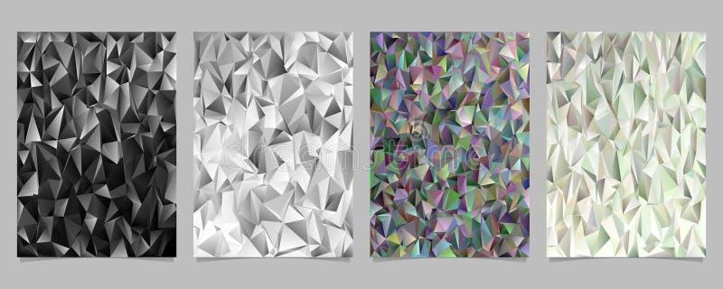 O molde caótico geométrico abstrato da página do teste padrão do triângulo ajustou - o cartaz, projetos gráficos do fundo do folh ilustração do vetor