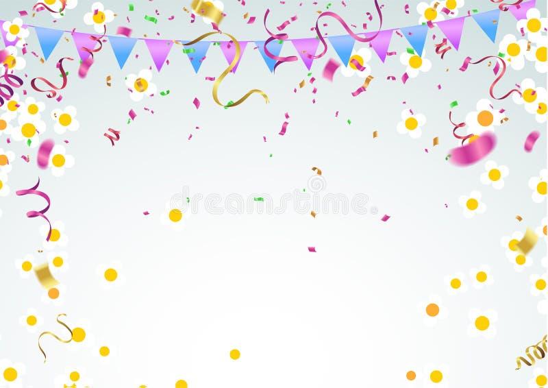 o molde com flor, mola floresce, balões, pétalas de queda ilustração royalty free