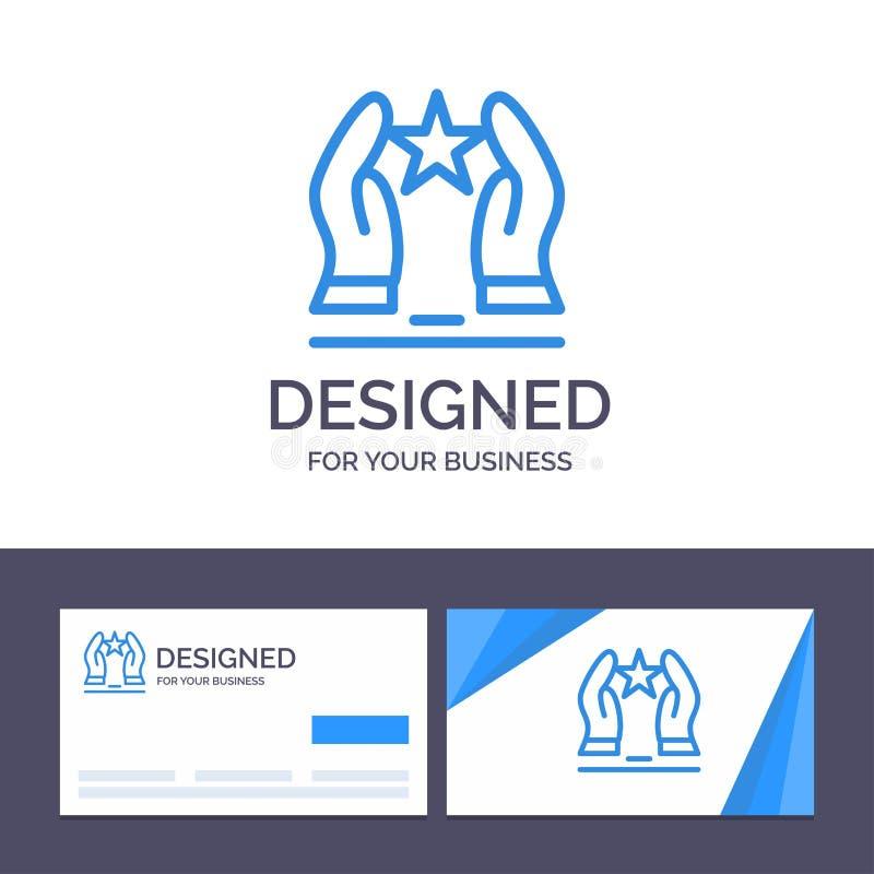 O molde criativo do cartão e do logotipo construído, importa-se, motiva-se, motivação, ilustração do vetor da estrela ilustração royalty free