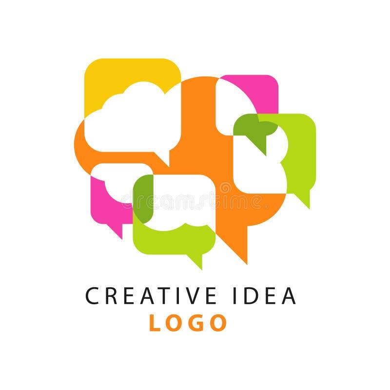 O molde criativo do logotipo da ideia com discurso de sobreposição colorido abstrato borbulha ícones Povos que conceituam o conce ilustração stock