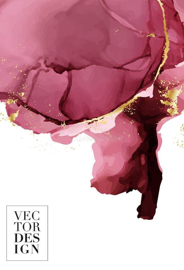 O molde criativo fluido do rosa escuro do sum?rio, cart?es, tampas da cor ajustou-se Projeto geom?trico, l?quidos, formas com bri ilustração do vetor
