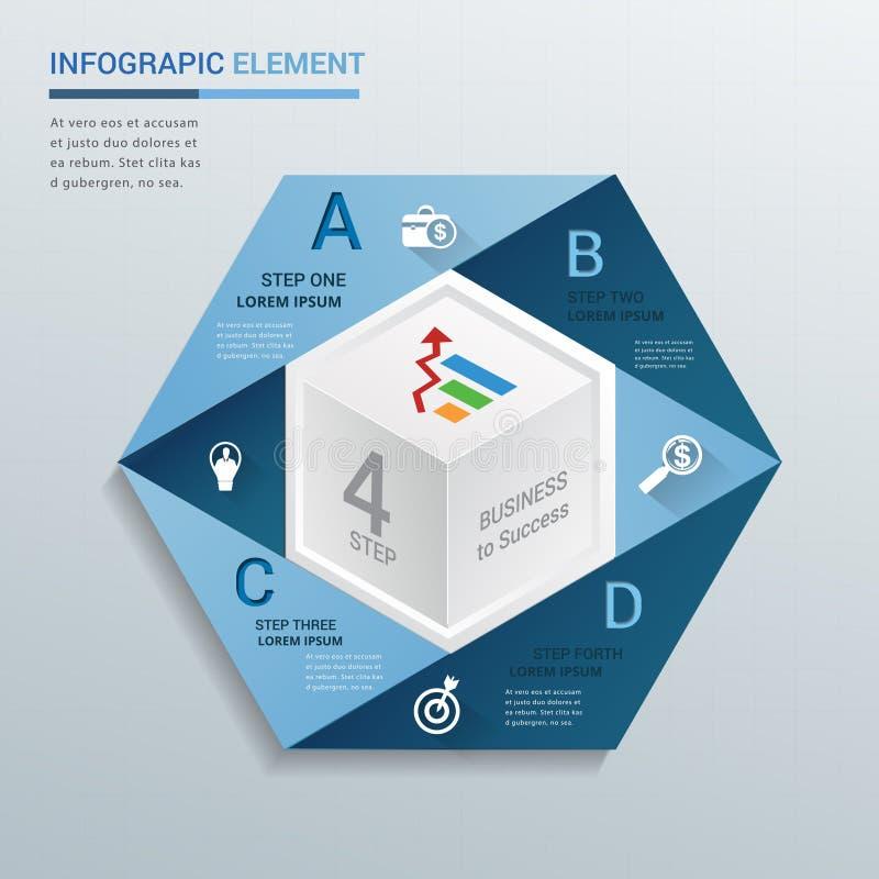 O molde 3D moderno abstrato pode usado para a bandeira e o infographics ilustração stock