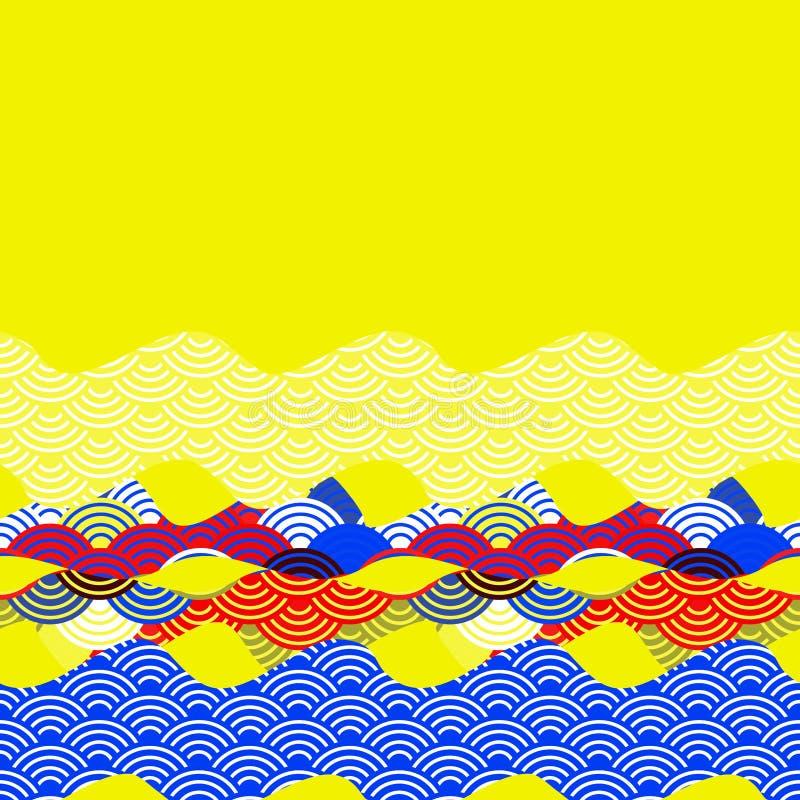 O molde da bandeira do cartão escala o fundo simples da natureza com a bandeira alaranjada amarela vermelha azul de do cartão das ilustração do vetor