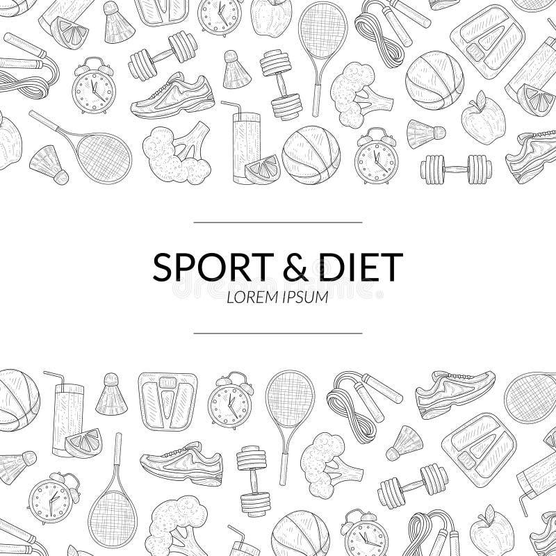 O molde da bandeira do esporte e da dieta, o estilo de vida saudável, os esportes e os objetos da aptidão entregam a ilustração t ilustração stock