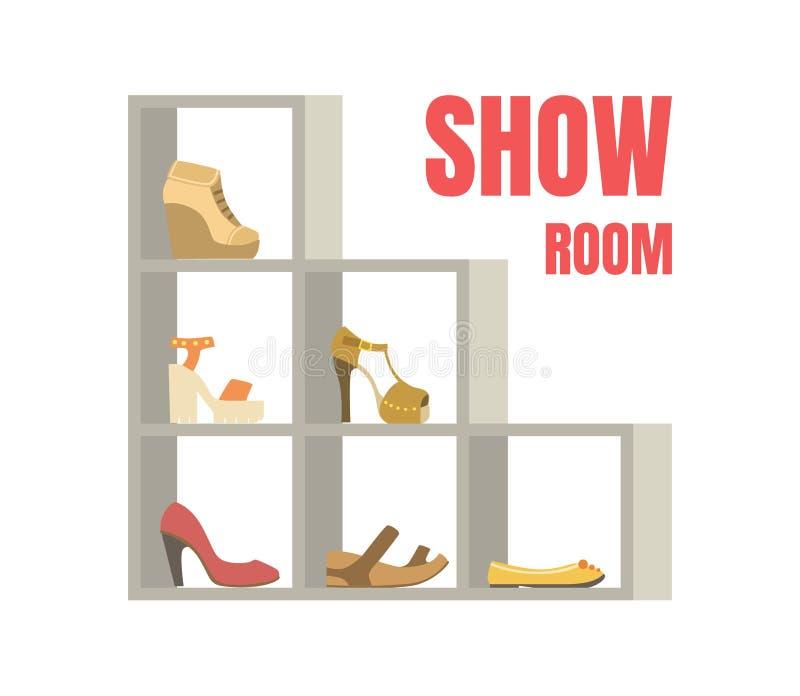 O molde da bandeira da sala da mostra, calçados fêmeas em prateleiras, sapatas armazena a ilustração interior do vetor ilustração stock