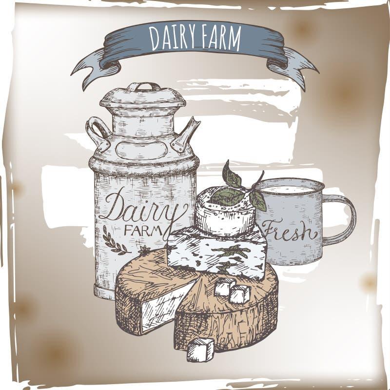 O molde da exploração agrícola de leiteria com placa de queijo, leite do metal pode e copo ilustração stock
