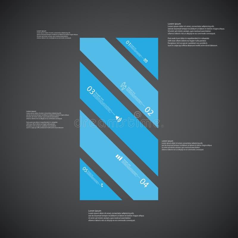 O molde da ilustração da barra consiste em cinco porções azuis no fundo escuro ilustração stock