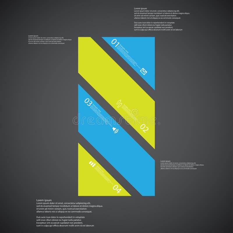 O molde da ilustração da barra consiste em quatro peças da cor no fundo escuro ilustração stock