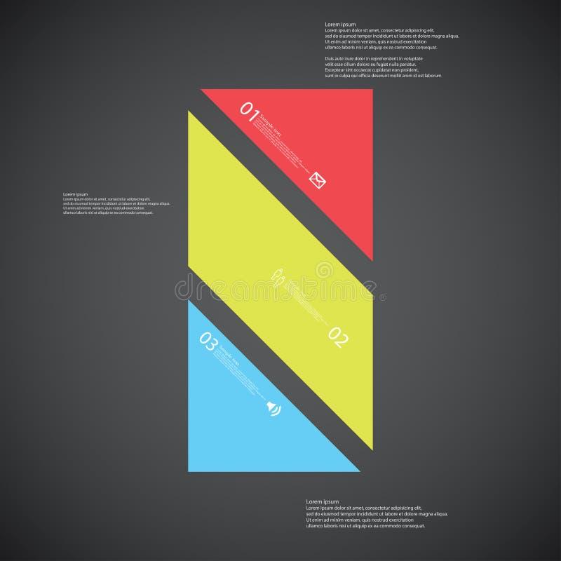 O molde da ilustração da barra consiste em três peças da cor no fundo escuro ilustração royalty free