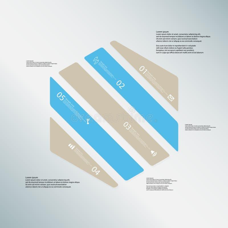 O molde da ilustração do hexágono consiste em cinco peças da cor no fundo azul ilustração stock