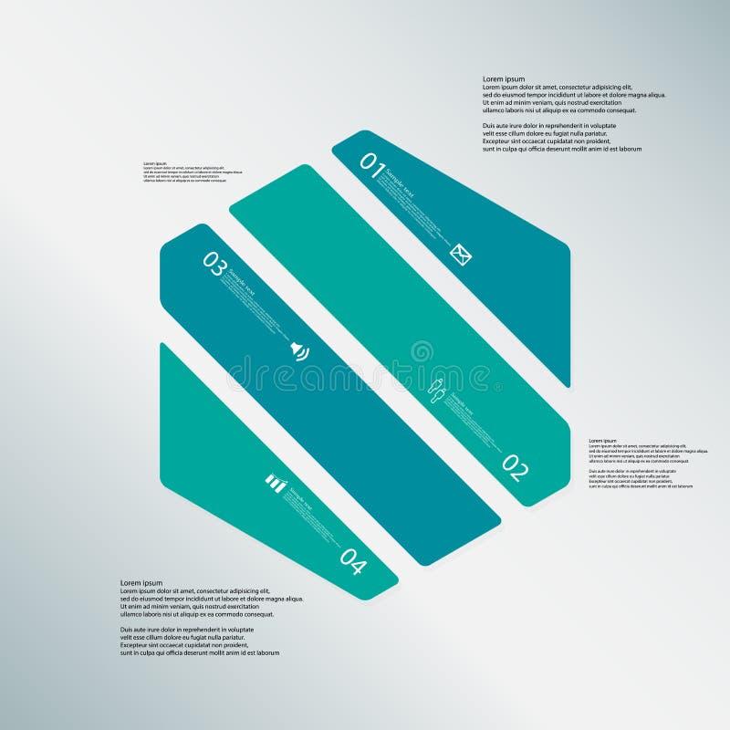 O molde da ilustração do hexágono consiste em quatro peças da cor no fundo azul ilustração do vetor