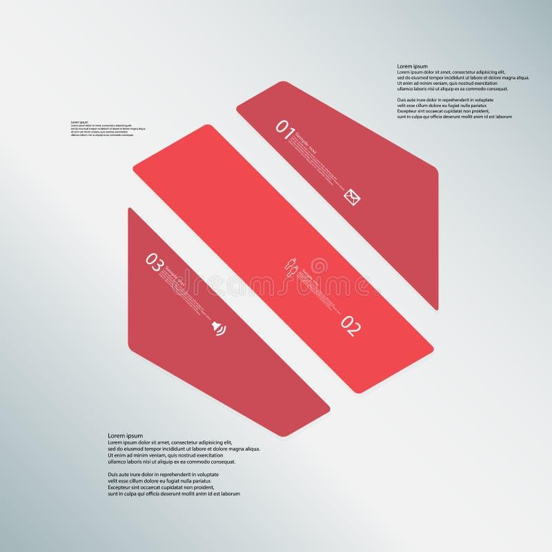 O molde da ilustração do hexágono consiste em três porções vermelhas no fundo azul ilustração stock
