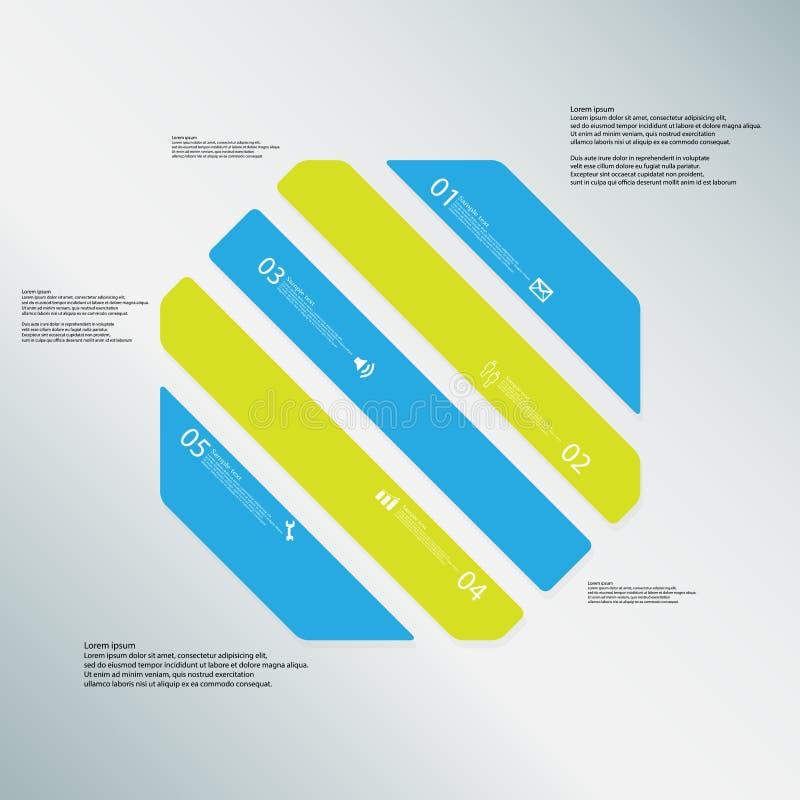 O molde da ilustração do octógono consiste em cinco peças da cor no fundo azul ilustração stock