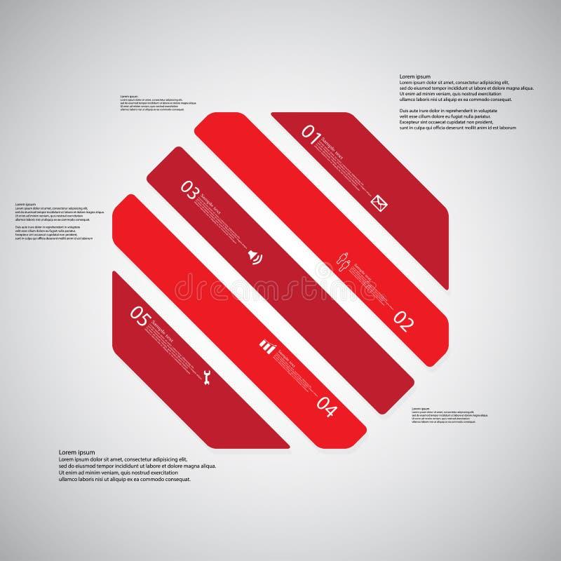 O molde da ilustração do octógono consiste em cinco porções vermelhas no fundo claro ilustração do vetor