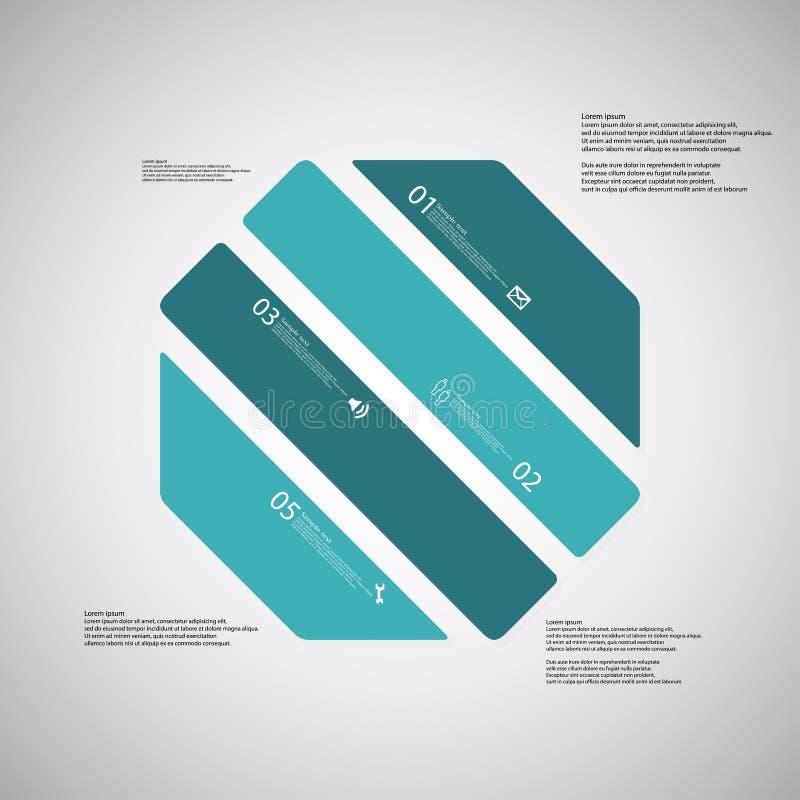 O molde da ilustração do octógono consiste em quatro porções azuis no fundo claro ilustração do vetor