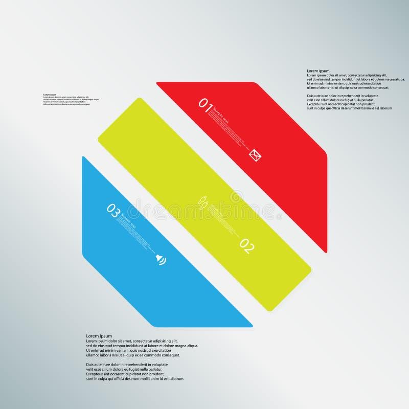 O molde da ilustração do octógono consiste em três peças da cor no fundo azul ilustração stock