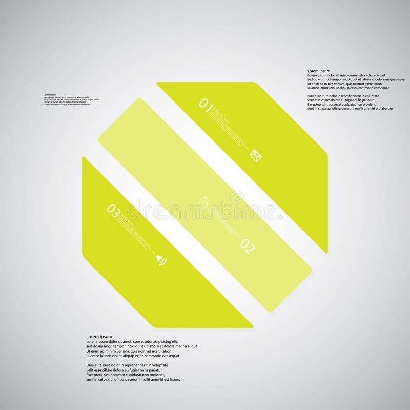 O molde da ilustração do octógono consiste em três porções verdes no fundo claro ilustração stock
