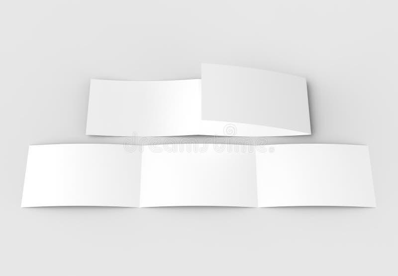 O molde da placa três dobra horizontal - ajardine o moc do folheto imagem de stock