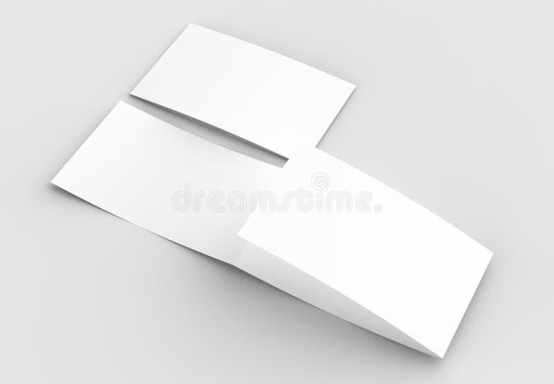 O molde da placa três dobra horizontal - ajardine o moc do folheto ilustração stock