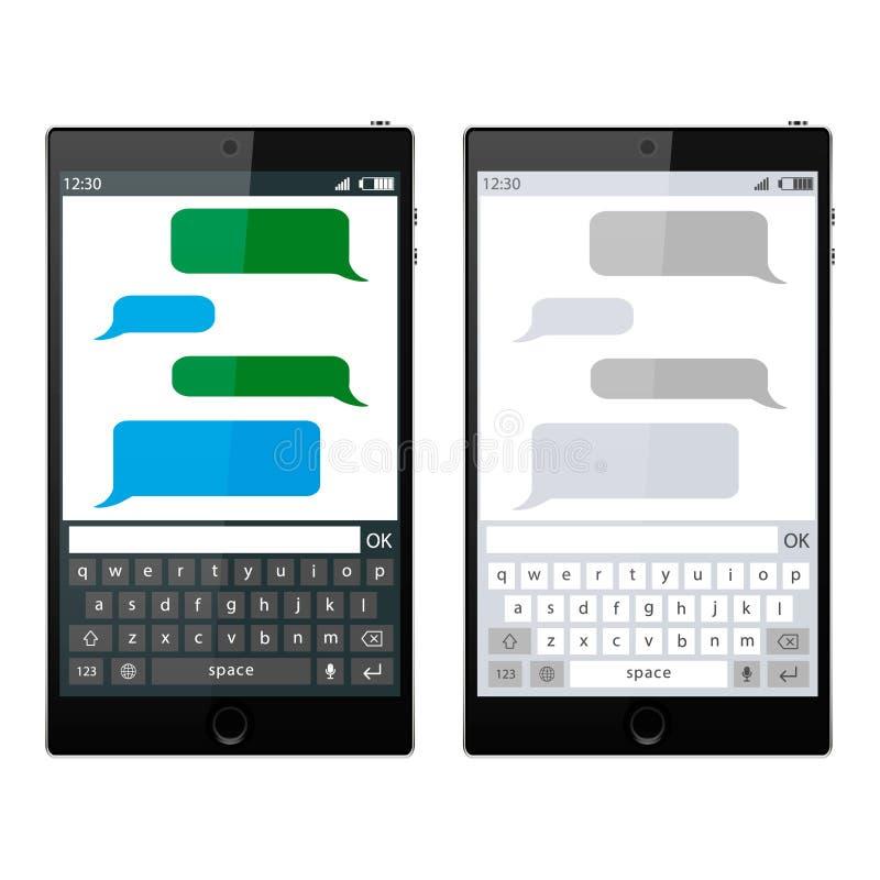 O molde de conversa do app dos sms de Smartphone borbulha, tema preto e branco Coloque seu próprio texto às nuvens da mensagem ilustração do vetor