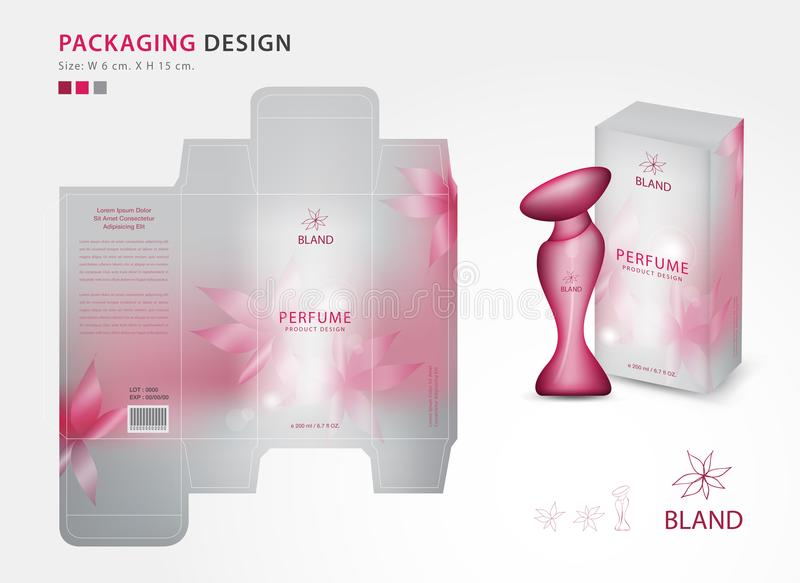 O molde de empacotamento do perfume, caixa, molde criativo para cosméticos, garrafa da ideia do projeto de produto, pica o concei ilustração stock