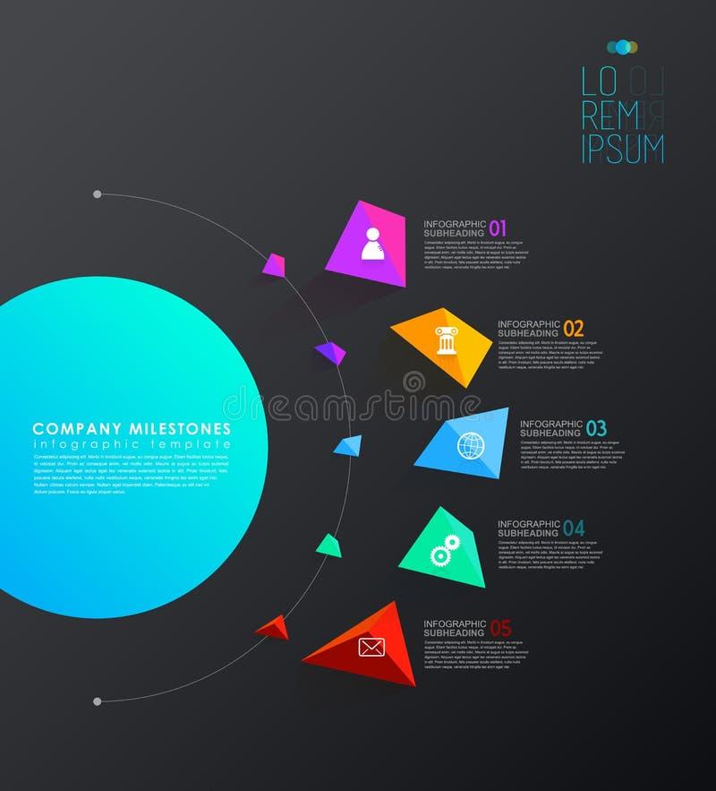 O molde de Infographic com cinco formas coloridas e os ícones alinham ilustração stock