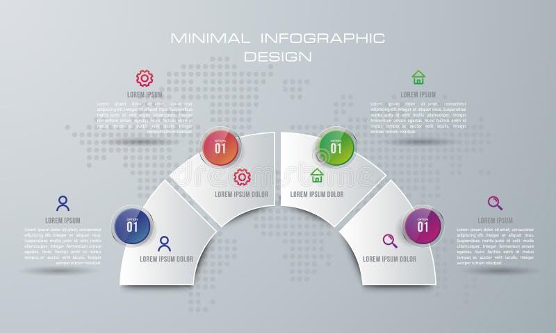 O molde de Infographic com vetor de projeto de 4 opções, trabalhos, cartas de processo, infographics do espaço temporal e ícones  ilustração stock
