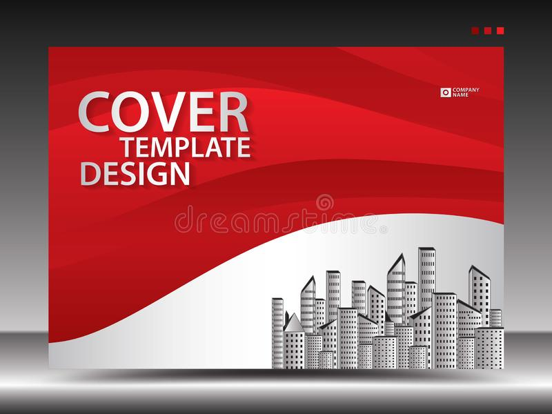 O molde de tampa vermelho para anunciar, indústria, Real Estate, casa, quadro de avisos, apresentação, inseto do folheto, tampa d ilustração stock