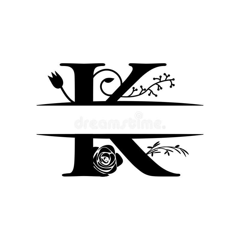 O molde decorativo do projeto gráfico da letra da separação do monograma isolou-se ilustração stock