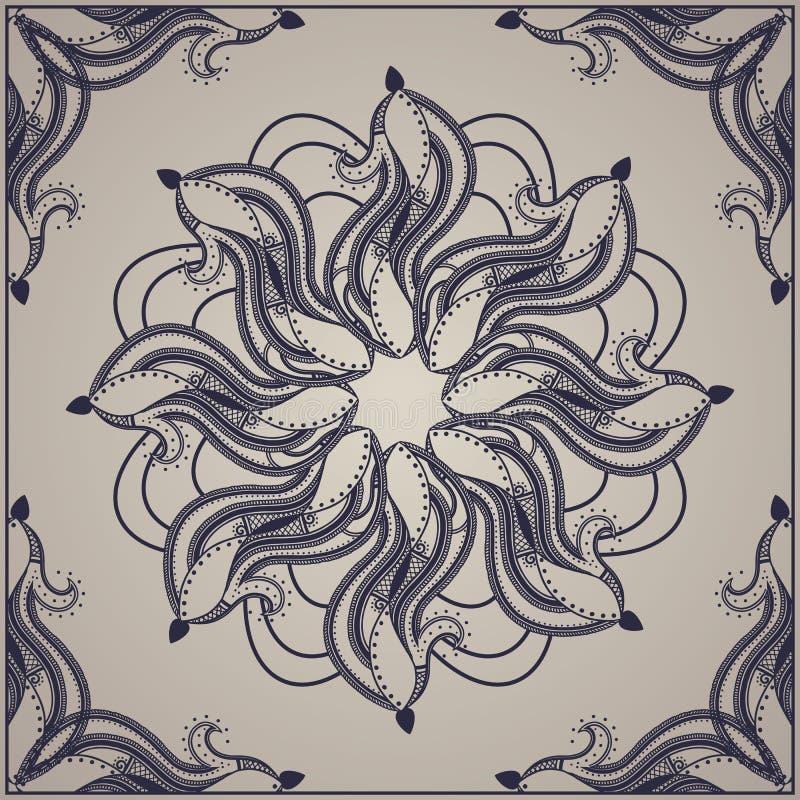 O molde detalhou o projeto para o cartão, o xaile ou a matéria têxtil ilustração royalty free