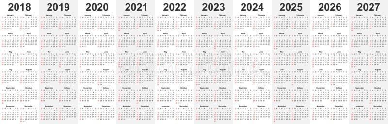 O molde do calendário ajustou-se para 2018, 2019, 2020, 2021, 2022, 2023, 20 ilustração stock