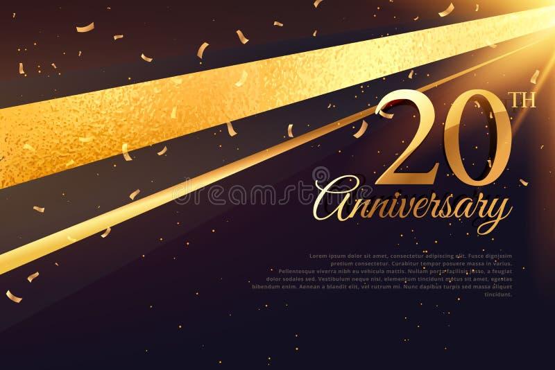 20o molde do cartão da celebração do aniversário ilustração do vetor