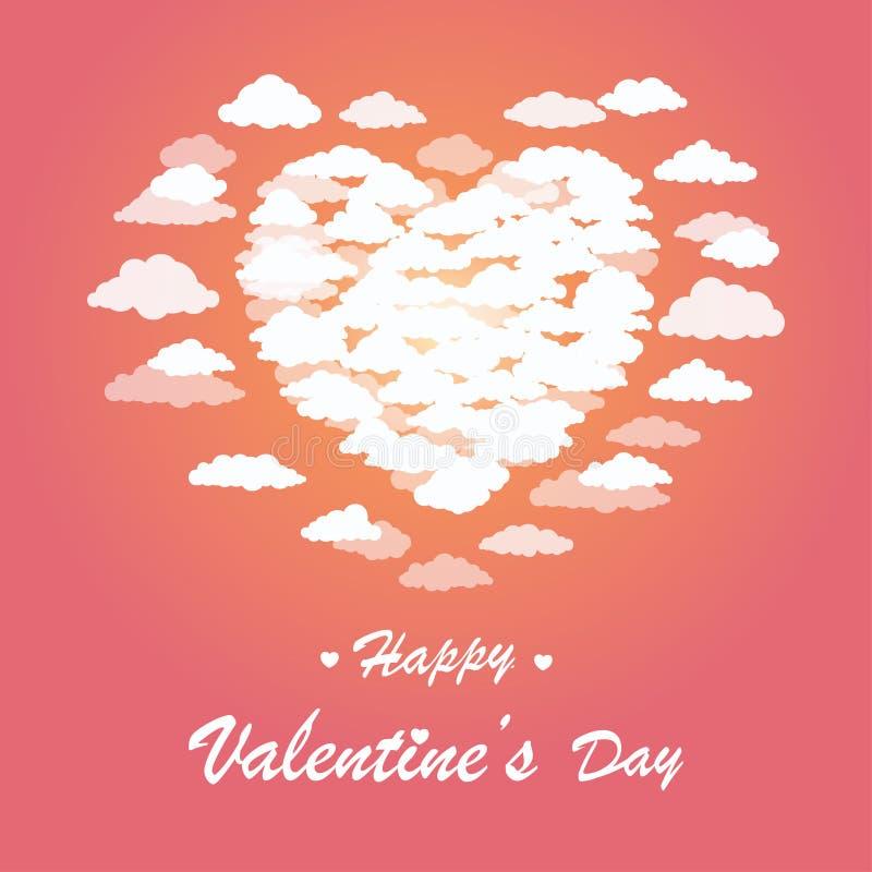 O molde do cartão de Valentine Day, coração deu forma a nuvens no céu ilustração stock