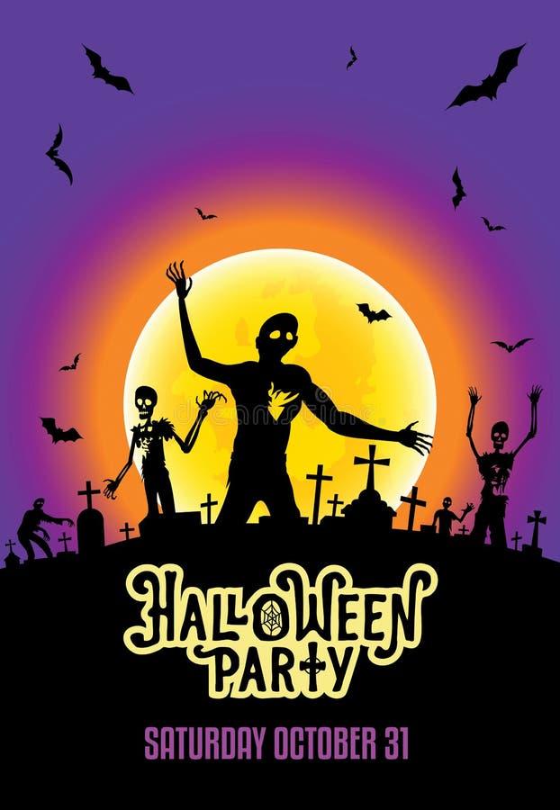 O molde do convite do partido de Dia das Bruxas com zombis, os bastões e o brilho moon no cemitério ilustração royalty free