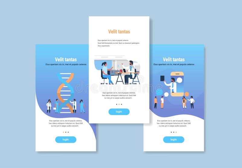 O molde do design web ajustou o espaço liso da cópia da coleção médica diferente dos conceitos da medicina ilustração do vetor